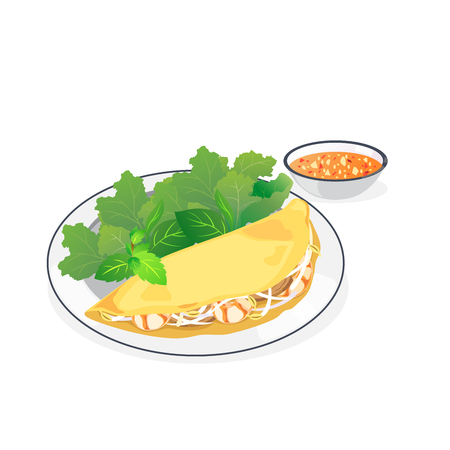 A dish of vietnamese pancake and dipping sauce.