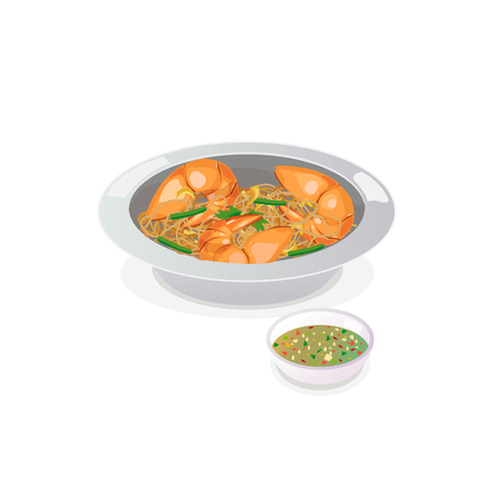 Shrimp potted with vermicelli with seafood sauce. Ilustracja