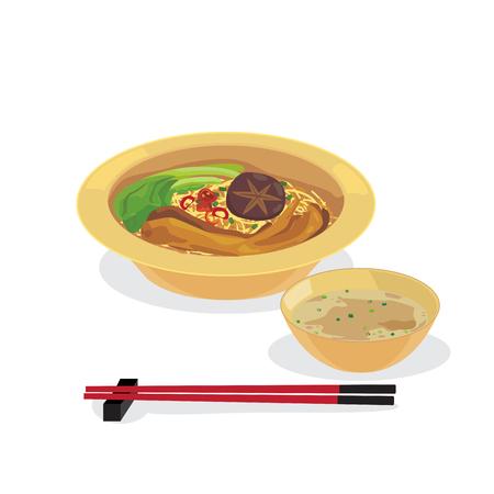 Roast goose leg noodle with soup and chopsticks.