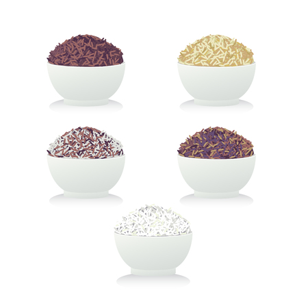 Five bow of rice and white background.