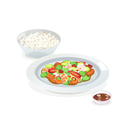 Stir-fried twisted cluster bean with shrimps and rice. Illustration