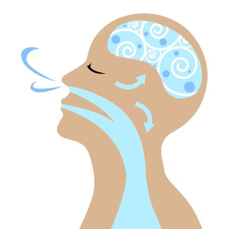 Las personas a respirar para el vector de buena salud. Ilustración de vector