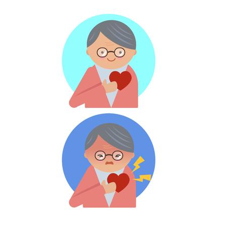 Elderly have good health and heart disease vector illustration. Illustration