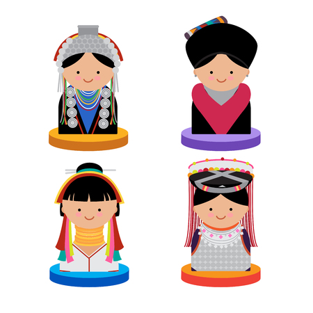 Icon of tribal northern Thai woman vector and crops on white background.