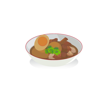 Egg and pork in sweet brown sauce in a bowl.