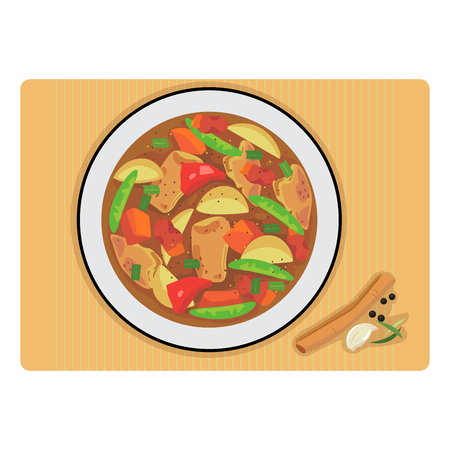 Vector of chicken stew in a plate and spice.