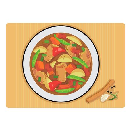 Vettore di stufato di pollo in un piatto e spezie.