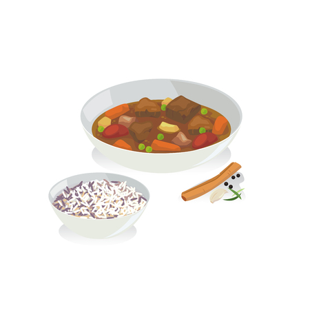 Vector of beef stew in a plate and spice.