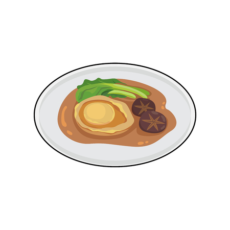 Chinese food fired abalone with mushroom and young kale. Vector illustration.