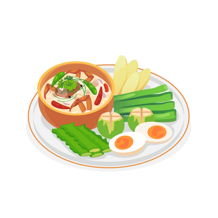 Crab dip with coconut milk served with fresh vegetables. Vector illustration. Stock Vector - 98867514