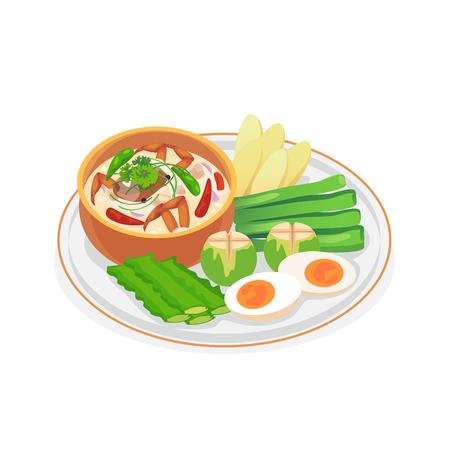 Crab dip with coconut milk served with fresh vegetables. Vector illustration. Illustration