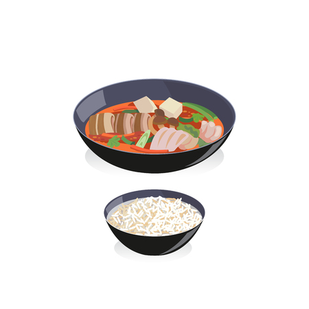 Korean food a bowl of kimchi soup with rice Vector illustration.