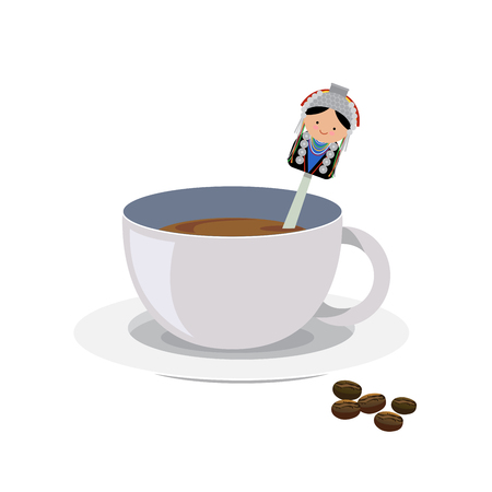 A cup of coffee with teaspoon and saucer.