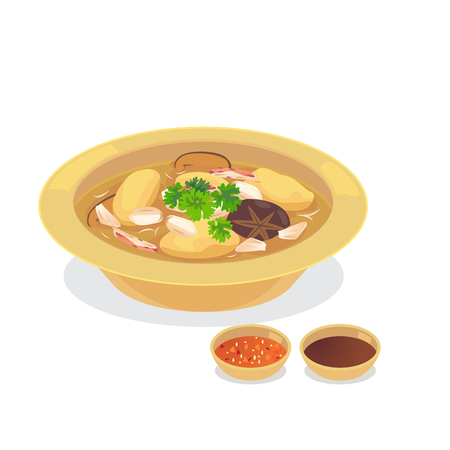 Fish maw in red gravy soup with crabmeat. Illustration