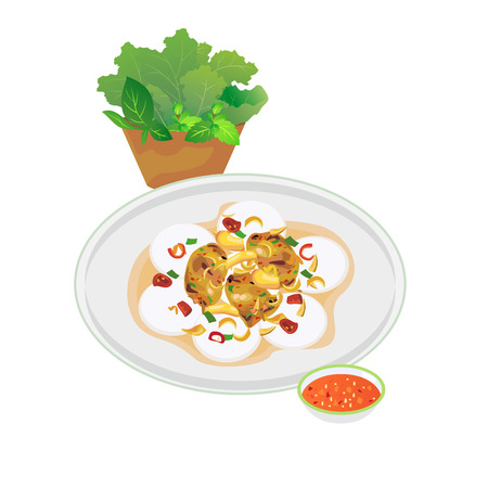 Vietnamese mini rice pan cake with pork grill and sweet sauce. Illustration