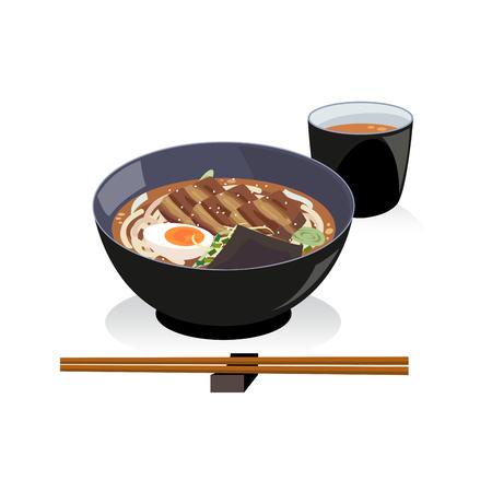 Udon set , a bowl of pork belly udon and hot tea. 向量圖像
