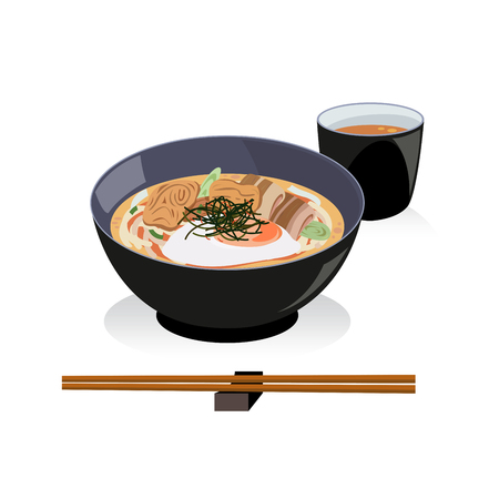 Udon set , a bowl of udon and hot tea.