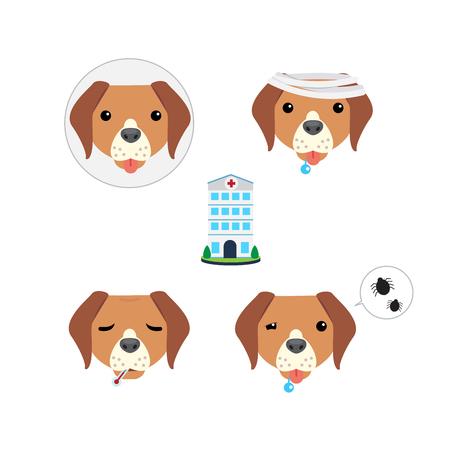 Icon set of sick dog icon Illustration