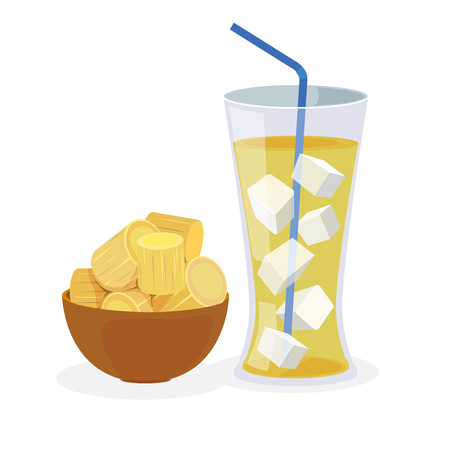 Fresh sugarcane in a bowl and sugarcane juice wih ice. Stock Illustratie