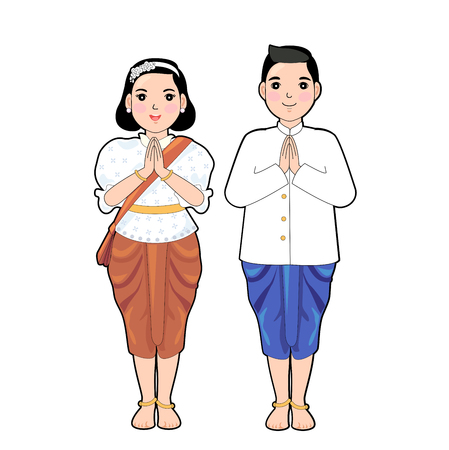 Woman and man in thai traditional dress in respect pose. Illustration