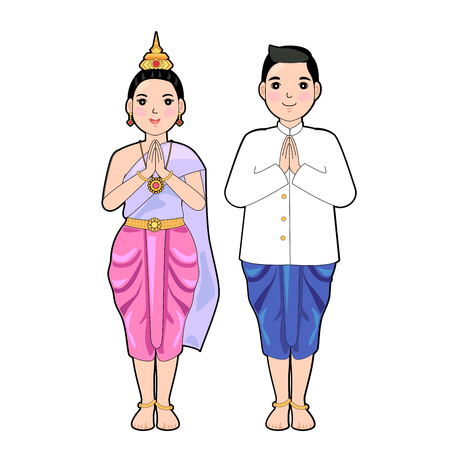 Woman and man in thai traditional dress in respect pose. 일러스트
