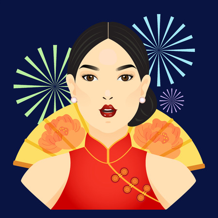 Vector of chinese lady in red dress and chinese paddle. Banque d'images - 104415998