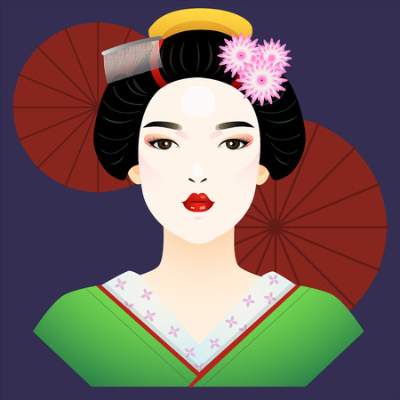 Vector of japanese lady wearing kimono with umbrella in background.