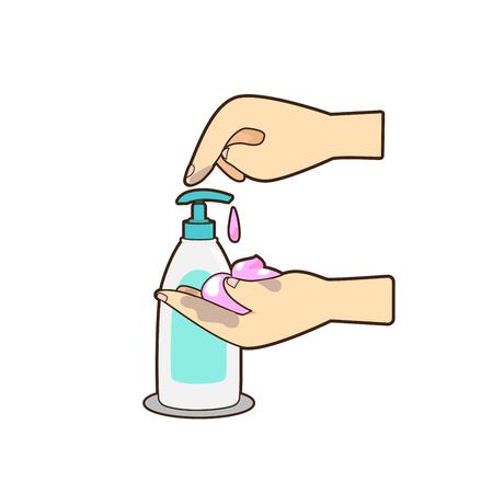 Vector de mano presionando botella de loción o jabón sobre fondo blanco.