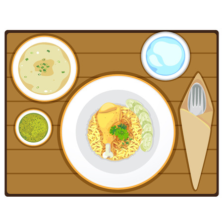 Muslim yellow rice with chicken with soup and pure water. Illustration