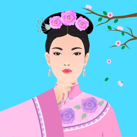 Vector of chinese lady in pink traditional dress have plum blossom in backdrop.