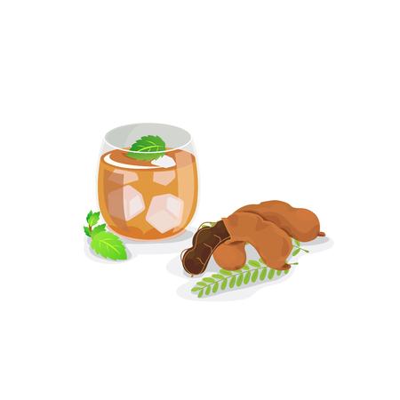 A glass of tamarind juice and fresh tamarind pod.