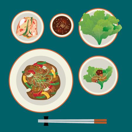 Korea food, bulgogi with kimchi and fresh vegetables and spicy sauce.