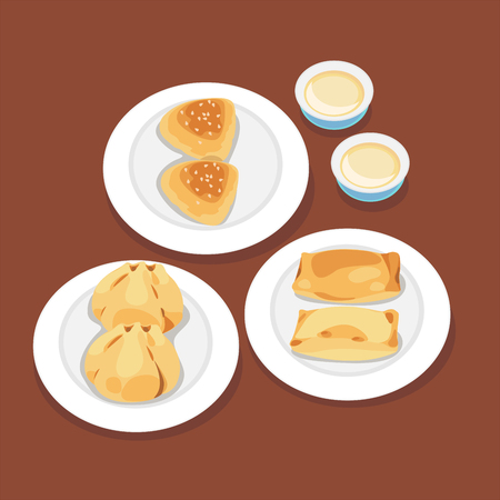 Hong kong sweet cake, pie and chinese buns fried with chinese hot tea. Illustration
