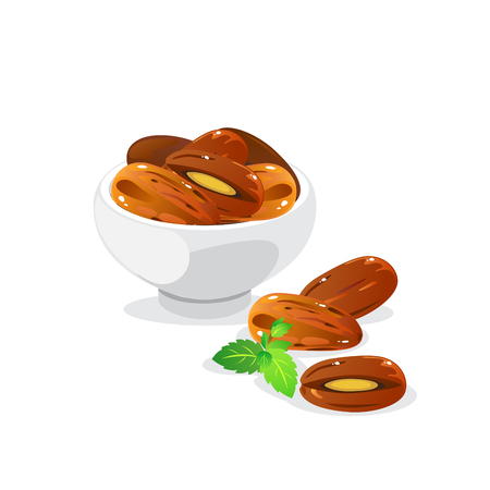 Dried date fruits in ceramic white bowl. Stock Illustratie