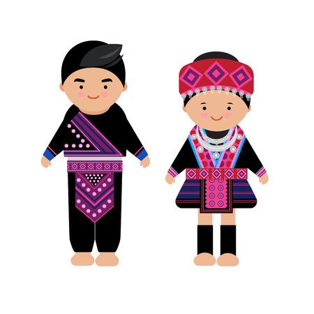 Vector de vestido de mujer y hombre de las tribus de las colinas, Hmong, tribu del norte, de tailandia