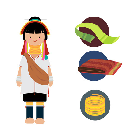 Vector of hilltribe woman dress, Hmong northern tribe,  of thailand
