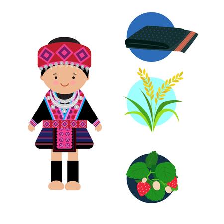 Vector de vestido de mujer hilltribe, tribu del norte Hmong, de tailandia.