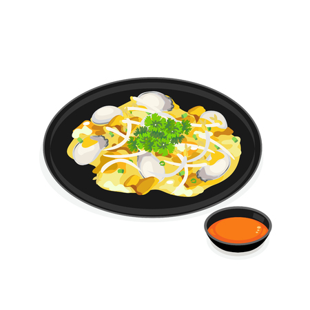 A dish of oyster omelette with sauce.