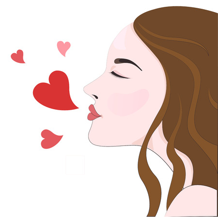 Woman close her eye  kiss pose with heart. Illustration