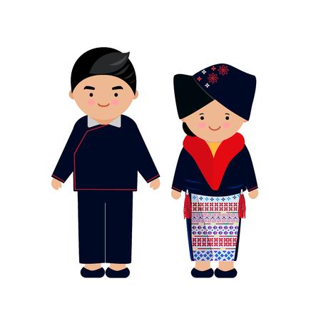 Vector de vestido de mujer y hombre de las tribus de las colinas, Yao, tribu del norte, de tailandia y chino. Ilustración de vector