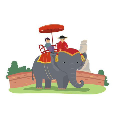 Vector of ride elephant travel in thailand.