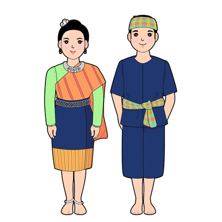 Woman and man in northeast of thai traditional dress.
