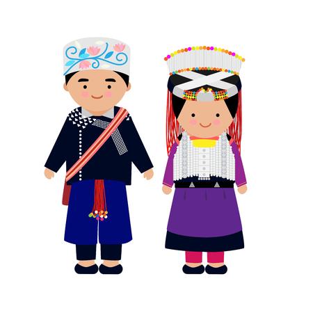 Vector de vestido de hombre y mujer de las tribus de las montañas, Lisu, tribu del norte, de tailandia. Ilustración de vector