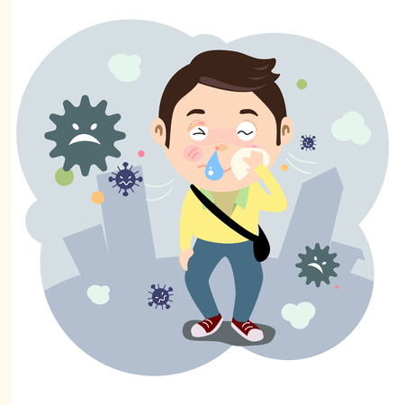 Dust problem affect to health rash up, snot and sickness. Illustration