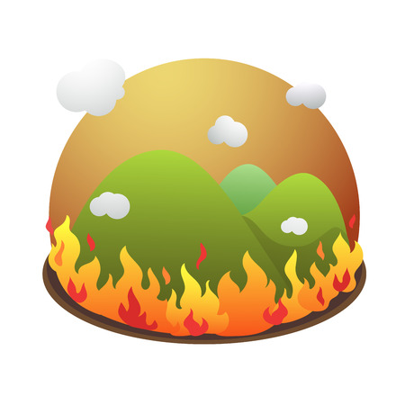 Vector of forest fire burn out of control.