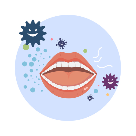 Bad breath vector with bacteria on white background. Иллюстрация