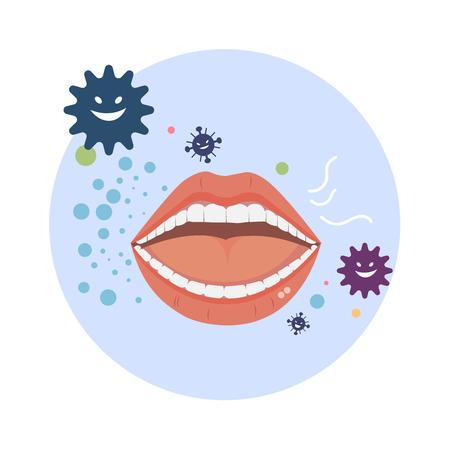 Wektor nieświeży oddech z bakteriami na białym tle. Ilustracje wektorowe