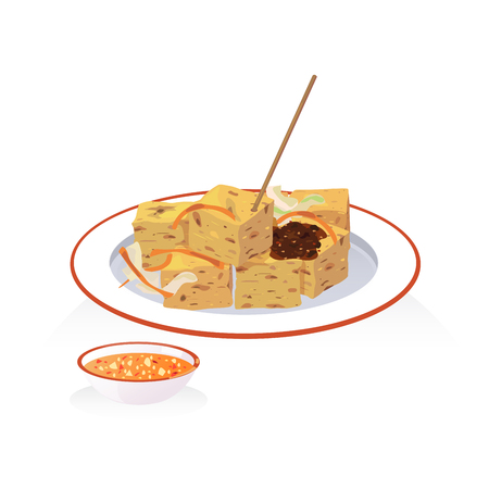 A dish of deep fried stinky tofu with dipping sauce and pickled Иллюстрация