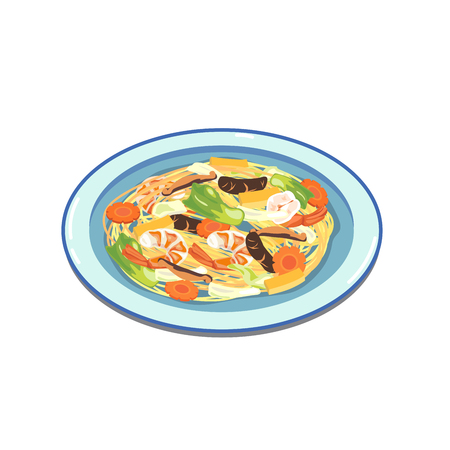 Hong kong style fried noodle with shrimp. Illustration