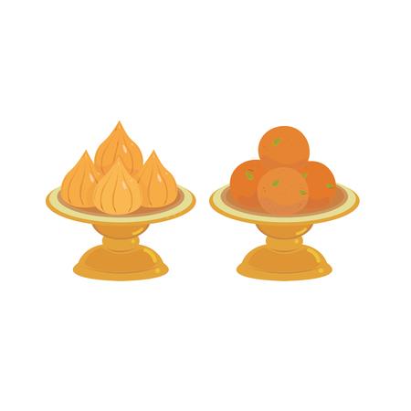 Vector of modak and kalash in pedestal tray. Illustration